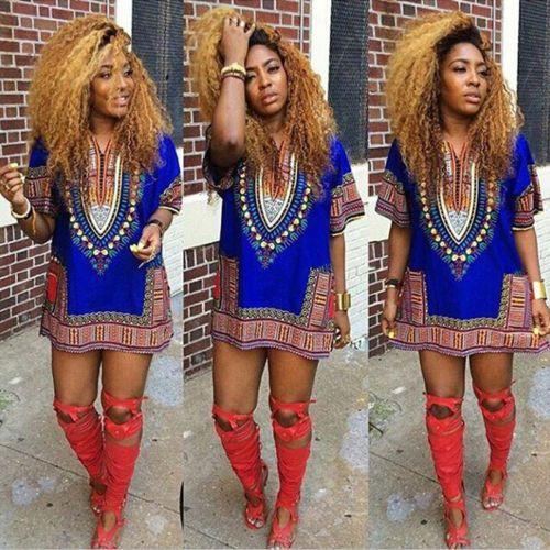 Women African Dashiki Shirt Kaftan Boho Hippe Gypsy Festival Tops Party Dress