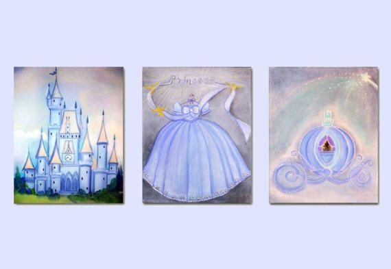 Princess Nursery Castle Art Princess Dress Cinderella