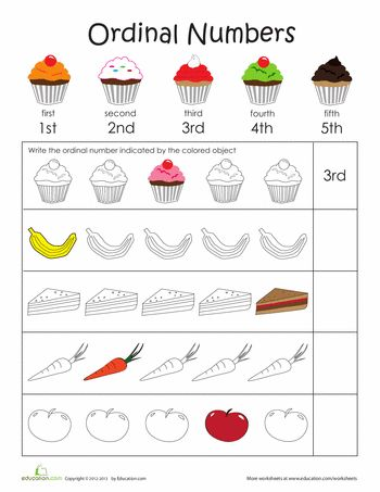 Worksheets: Teaching Ordinal Numbers