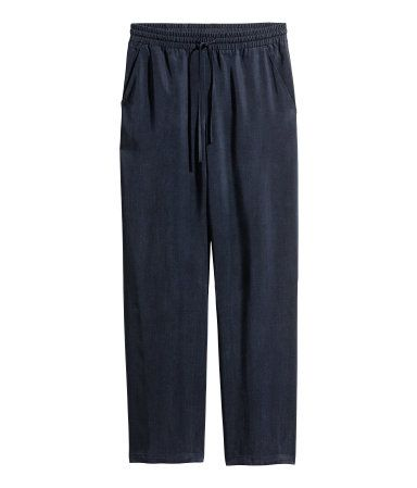 Wide-cut Lyocell Pants | Dark blue | Women | H&M US