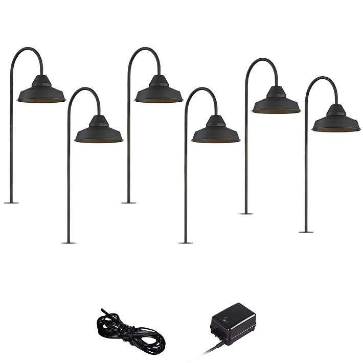 Westley Black 8 Piece Led Landscape Path Light Set 67m60 Lamps Plus Path Lights Outdoor Path Lighting Landscape Lighting Kits