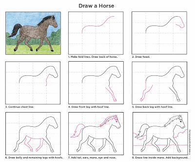 Art Projects for Kids: How to Draw a Horse. Print friendly PDF file available to download for free. #artprojectsforkids