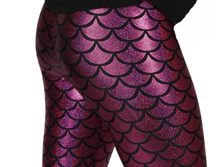 Fuschia Mermaid Spandex Leggings by GpopClothing on Etsy, $55.00
