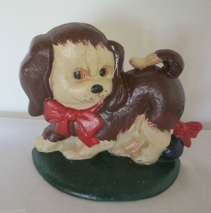 Cast Iron Brown And White Puppy With A Red Bow Toy Door Stop