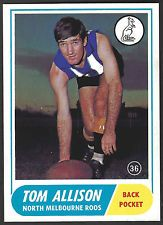 1969 Scanlens North Melbourne No 36 Tom Allison Kangaroos near Mint card r