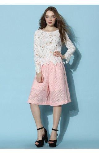 White Blossom Crochet Smock Top - Tops - Retro, Indie and Unique Fashion