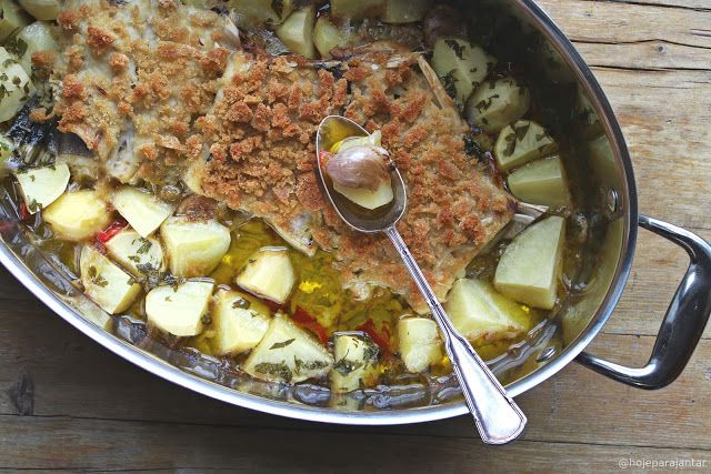 Hoje para jantar ...: Bacalhau com broa e pimentos