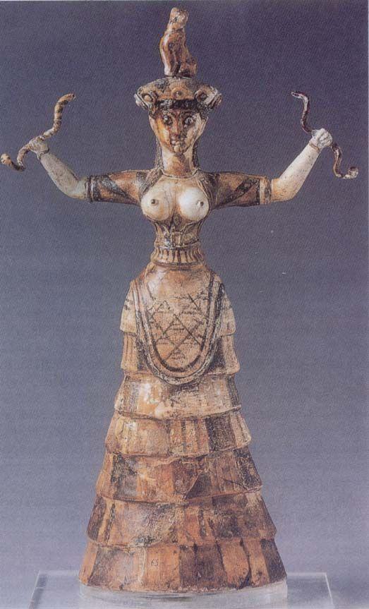 AUTORE: Ignoto NOME:Dea dei Serpenti, DATAZIONE: 1700-1600 a.C. circa, MATERIALE E TECNICA: scultura di ceramica. LUOGO DI CONSERVAZIONE: Museo Archeologico, Heraklion, Isola di Creta, Grecia.