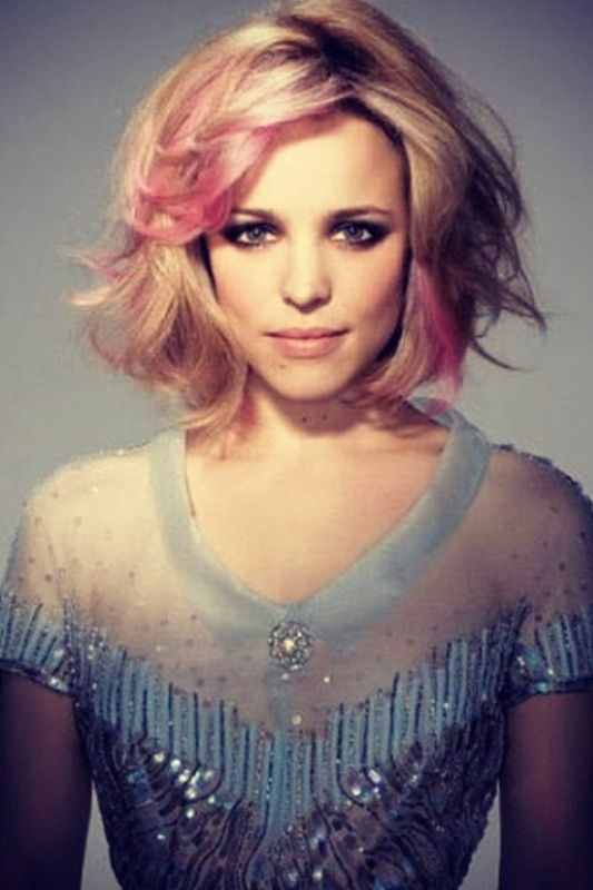 Pic of rachel mcadams. Love the cut and color, but without the pink streaks.
