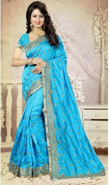 Sky Blue Color Art Silk Embroidery Party Saree | FH586486348 Sale up to 19% off end in 31 July Hurry Follow us @Heenastyle