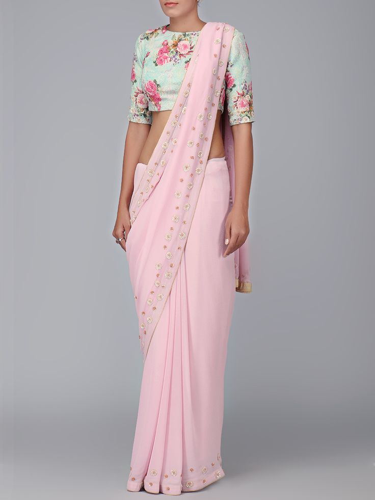 Printed Sea Blue Blouse & Pink Georgette Saree