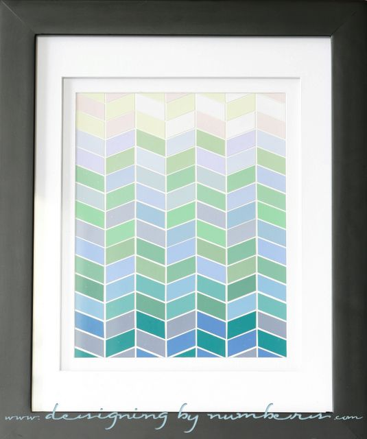Herringbone Paint chip art with tutorial