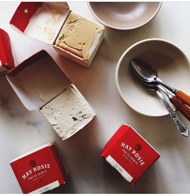 Why has no one ever done small square ice cream packaging??! It looks amazing and makes so much more sense for optimizing space in a freezer.  Brooklyn based Hay Rosie Ice Cream delivered by The Roaming Kitchen