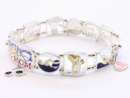 BRACELET STRETCH SWIM TEAM MOM MULTI Fashion Jewelry Costume Jewelry fashion accessory Beautiful Charms $7.05 #topseller