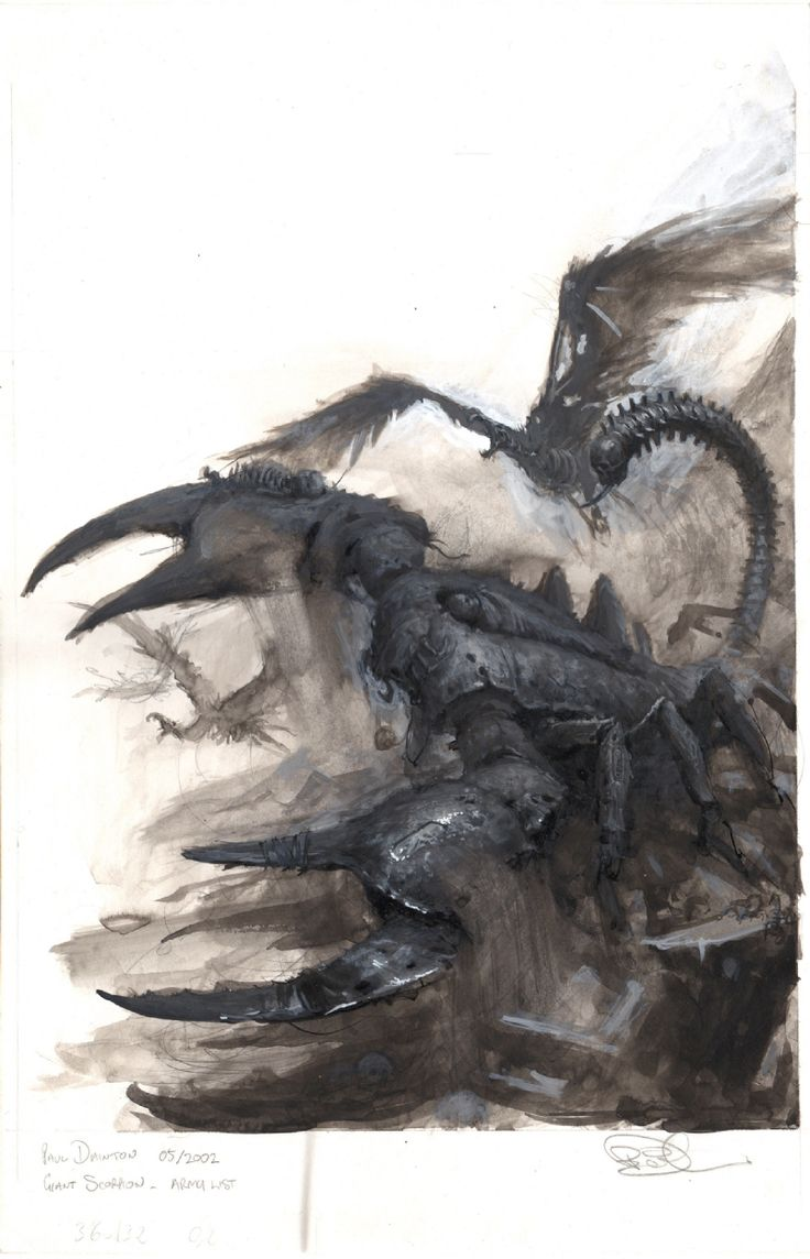Scorpion des Tombes et Charognard, par (auteur inconnu), in Warhammer Battle 8e édition, livre d'armée Roi des Tombes, par Games Workshop