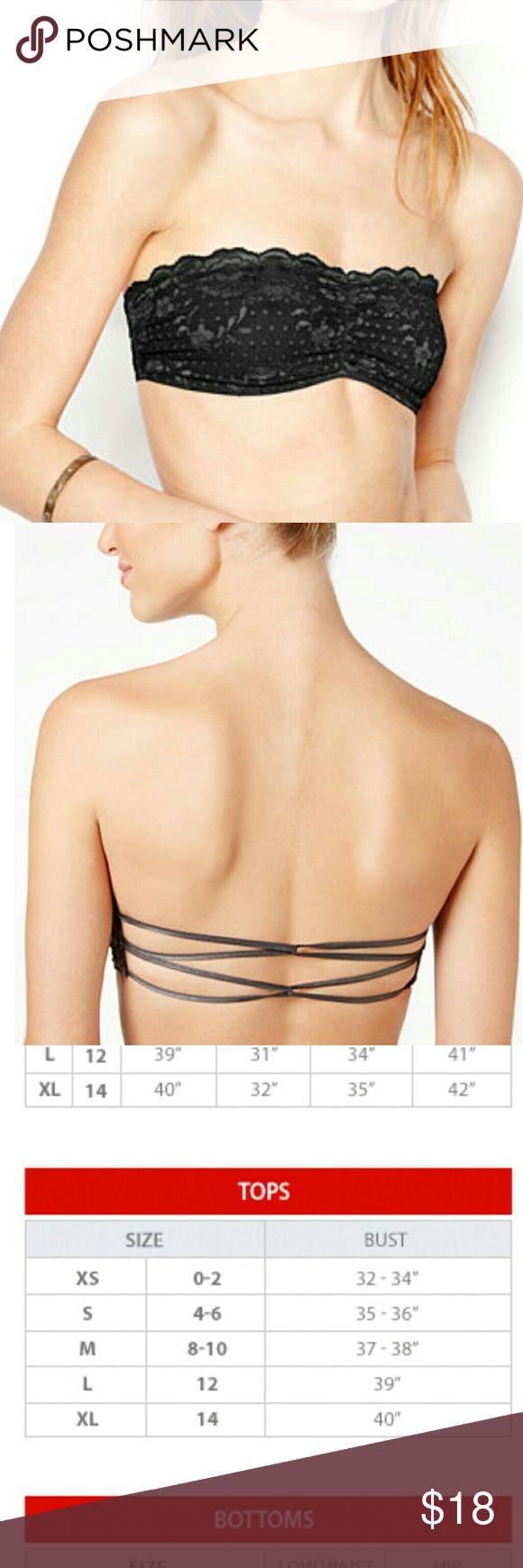 Free People Lace Essential Bandeau Free People Lace Essential Bandeau  Sexy Bandeau top with looped back straps  Perfect for layering in any season  88% Nylon 12% Spandex Strapless sweetheart neckline  See through lace front and sizes Ruched at center bust Two looped elastic back straps Pull on style Color Black See size chart in photo Size: Extra Small/Tres Petite Free People Intimates & Sleepwear Bandeaus