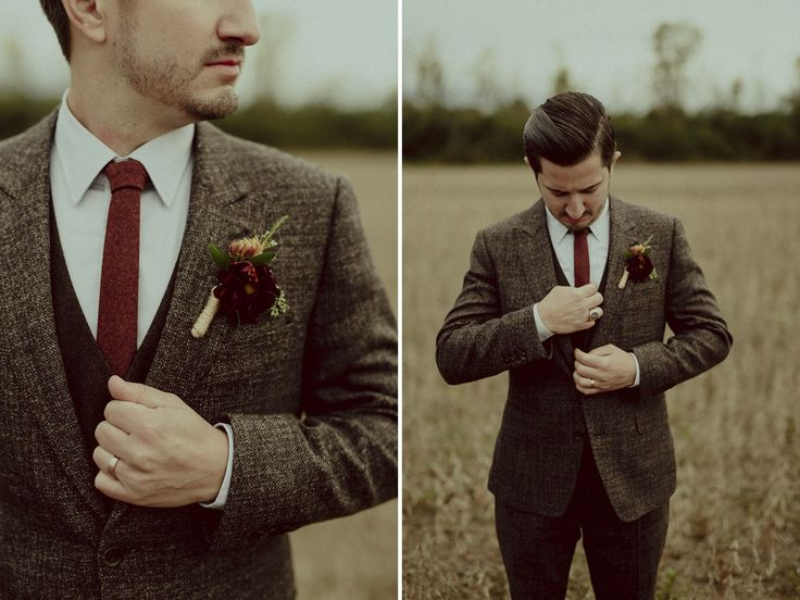 Upstate New York | Hudson Valley Fall Wedding  Groom in custom tweed brown suit, crimson wool tie, and locally-grown seasonal boutonniere