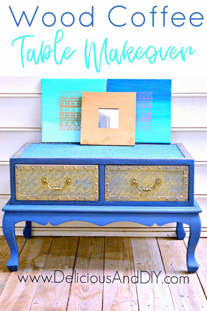 Repurpose your wood coffee table with this fun Two Tone Paint job and give it a unique makeover. Add some Gold touches to really make it POP.