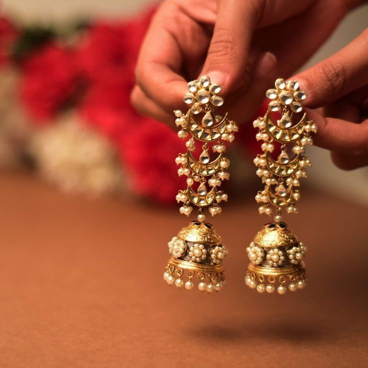 Antique Golden Colour Earrings Traditional Golden Copper Jhumkas Earrings Indian Jhumkas White Colour Beads Jhumkas