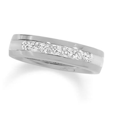 Unique T W Channel Set Diamond Wedding Band in K White Gold