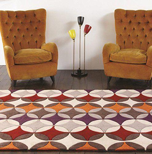 Teppich Wohnzimmer Carpet Modernes Design HARLEQUIN KREIS GEOMETRIE RUG 100 Acryl 160x230 Cm Rechteckig Braun
