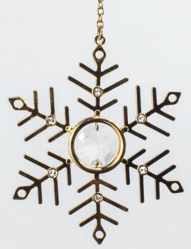 Schneeflocke gold überzogen MADE WITH SWAROVSKI ELEMENTS - premium-kristall