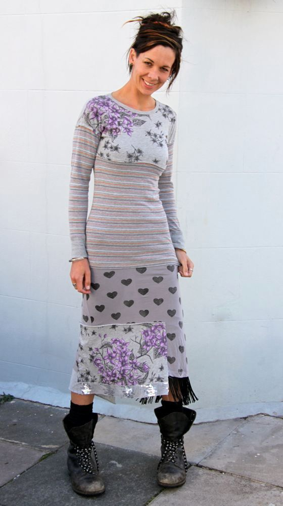 Long Upcycled T-Shirt Dress Stripey Floral Sweetheart Gray                      Made in England UK $79.00