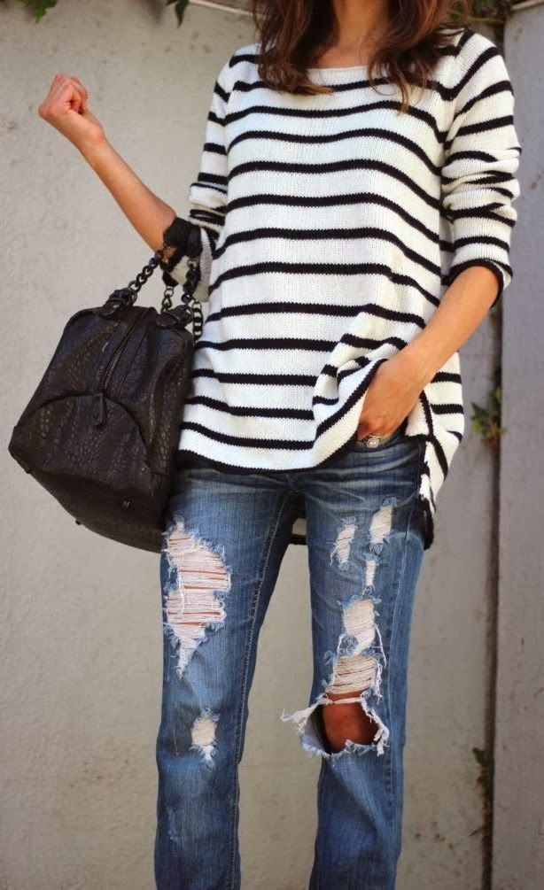 Cute fall stripes sweater shirt and distressed denim style