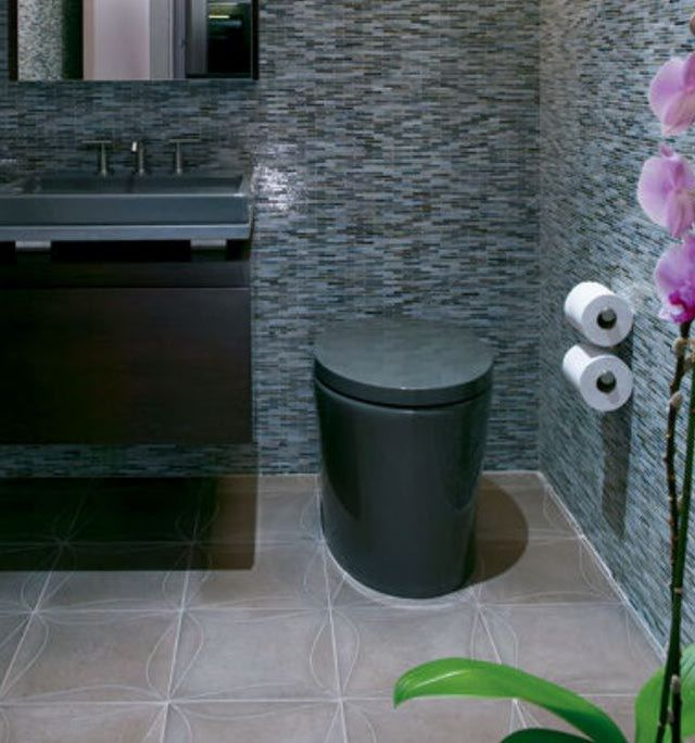 20 Bathroom Tiles We Love: Mosaic Bathroom Tile Picture With Complementary Color on Floor