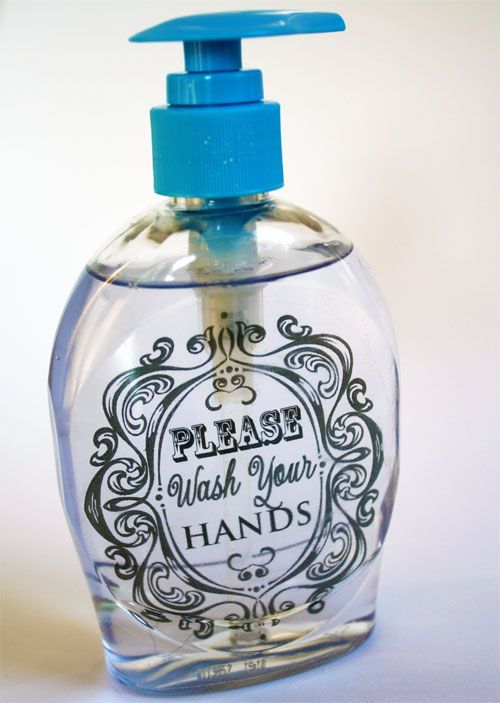 DIY Embellished Liquid Soap Container -- Customizable for all decor & personalized as a gift idea.  Would be better in a glass bottle with really nice soap!