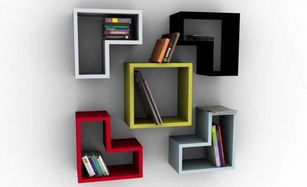 Creative bookshelves modern modular fascinating light stained
