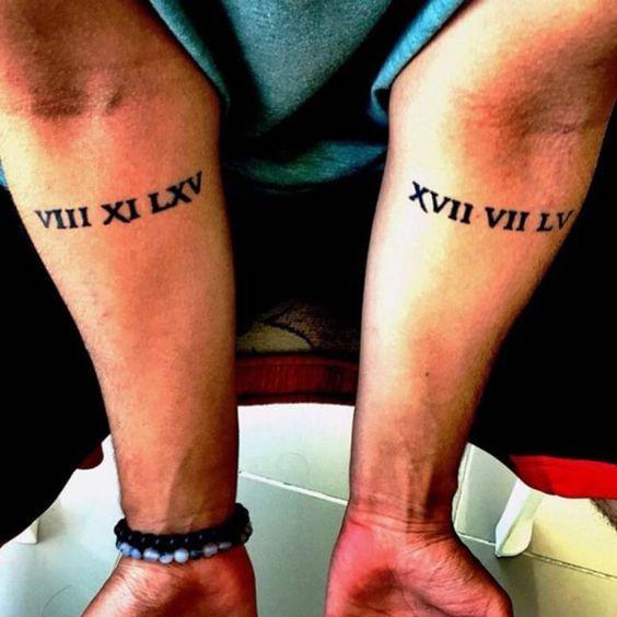 Tatuajes de la fechas de nacimiento de los padres de Mert Yenilmez en números romanos situados en ambos de sus antebrazos.
