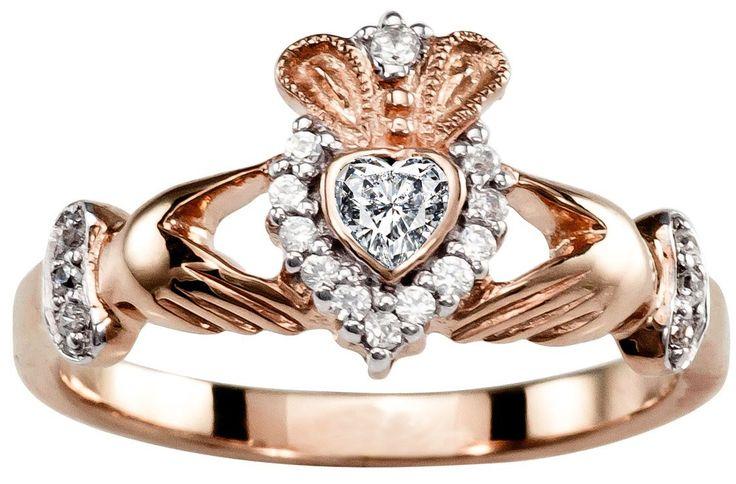 Ladies 10K/14K/18K Rose Gold Diamond Claddagh Ring