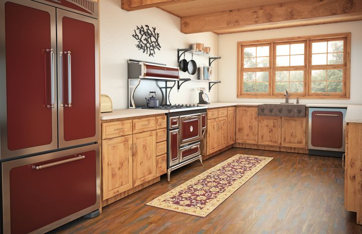 """This rustic kitchen features the Cranberry Heartland Classic suite with a 36"""" French door refrigerator, 48"""" range and dishwasher. www.agamarvel.com"""