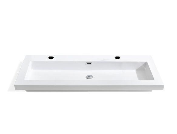 """Faites votre choix parmi nos nombreux dessus de vanité afin de trouver la perle rare qui enjolivera votre salle de bain. Ce modèle en polymarbre blanc contient un lavabo intégré. Agencez-le au meuble 32-V1205OAK ainsi que 2 robinets monotrou afin d'obtenir le lavabo idéal. Robinet non inclus  DIMENSIONS: 47-1/4"""" x 18""""…"""