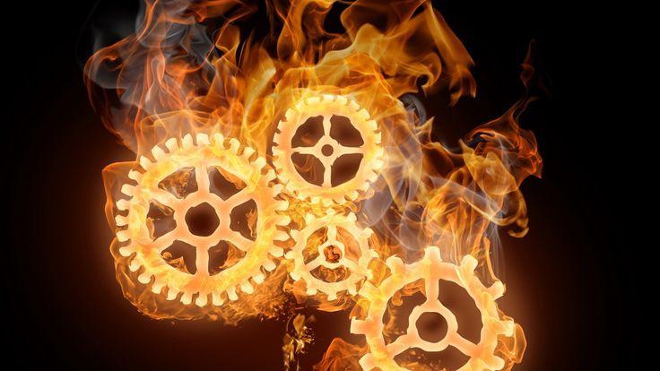 Steampunk Cog Wheels ~ #Steampunk #Fire #Flames #Smoke #3D #Wallpaper