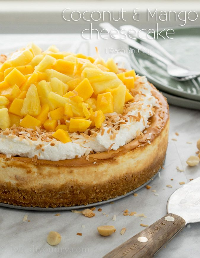 Coconut Cheesecake with Pineapple and Mango