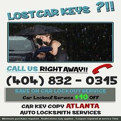 http://carkeycopyatlanta.com/ (404) 832-0315 You can choose to call a dealership when you need a new car key, but that will only cost you more money for the same service our professionals will provide you at a much lower cost.
