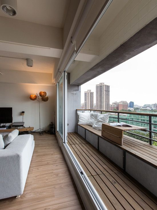 Two Points of Balcony Design : Excellent Contemporary Condo Balcony Design With Seat Also Modern Balcony Railings Style Also Clean White Cushions Also Floorboards And Laminate Floor Also White Modern Convertible Couch Also Unique Floor Lights