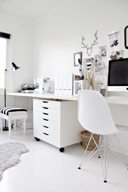 one long desk, 2 chairs with drawers as divider {Drawer from IKEA for office}