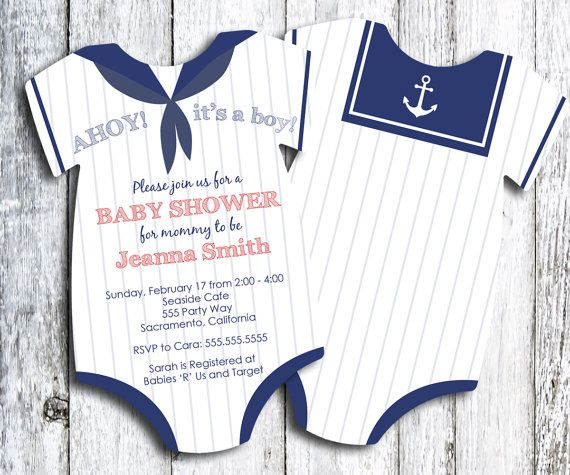 This listing is for an adorable 5x7 die cut onesie Ssilor baby shower invitations.    These 5x7 invitations are printed on beautiful 100# matte