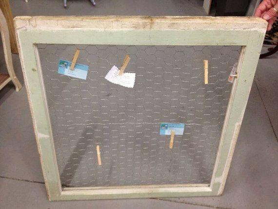 Anitque Wood Framed Window Repurposed into by SoutShoreShabbyShack, $29.00