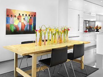 Flowers In Tall Vases Follow Shape Of Table · Dining Table  CenterpiecesDining Room ...