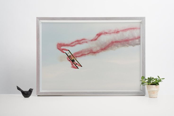 Red trail plane - a biplane with wing walkers by ANOVVA on Etsy