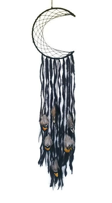 Moon Dreamcatcher - Black Crescent Moon- Black Dreamcatcher - Black Lace - Black Crochet - Black Moon Wall Decor - Black Wall Hanging - by Kishayasdreamcatcher on Etsy https://www.etsy.com/nz/listing/498810818/moon-dreamcatcher-black-crescent-moon