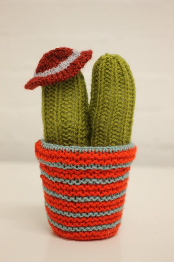 Tall Knitted Cacti with Hat by jennaleealldread on Etsy