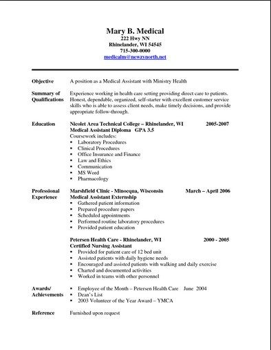 free printable resumes for medical assistants