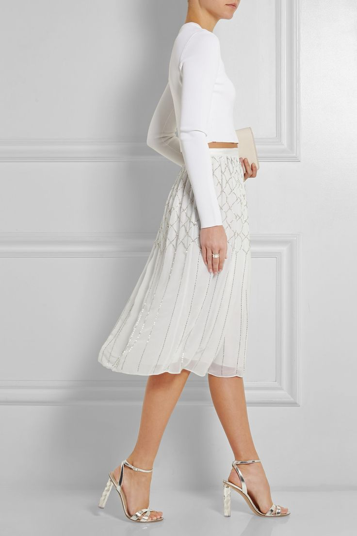 Needle & Thread | Grid bead-embellished chiffon skirt | NET-A-PORTER.COM from NET-A-PORTER