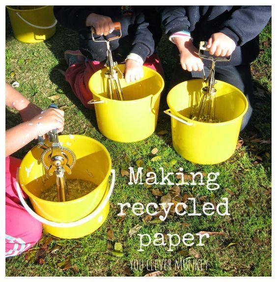 Ein praktischer Einblick in die Herstellung von Recyclingpapier. Eine perfekte Möglichkeit für Kinder zu sehen …