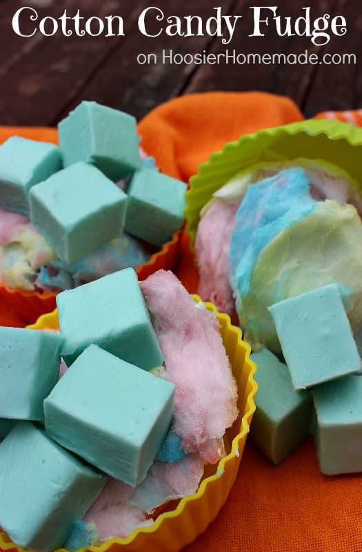 Just had a cotton candy-gasm - Cotton Candy Fudge - 1 container (7 oz) Marshmallow Fluff 2 1/2 cups white chocolate chips 3/4 cup butter, unsalted 1/2 cup Truvia Baking Blend 3/4 cup heavy whipping cream Pinch of Salt 1 packet Duncan Hines Frosting Creations Cotton Candy flavor